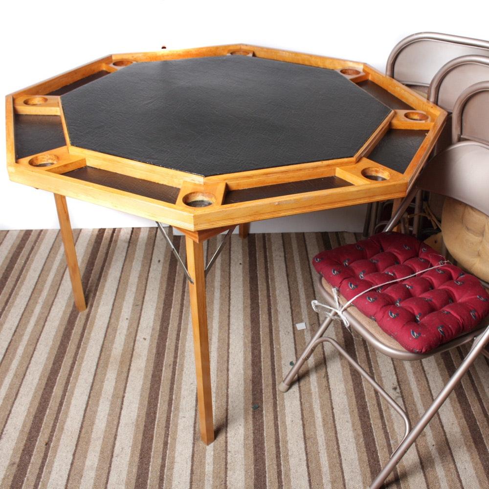 Vintage Folding Poker Table and Samsonite Chairs EBTH