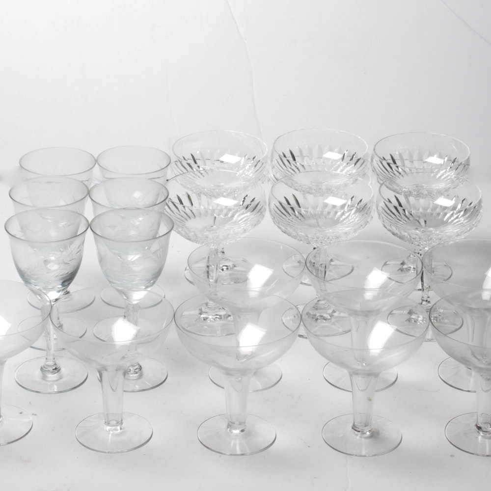 Glass and Crystal Barware Assortment