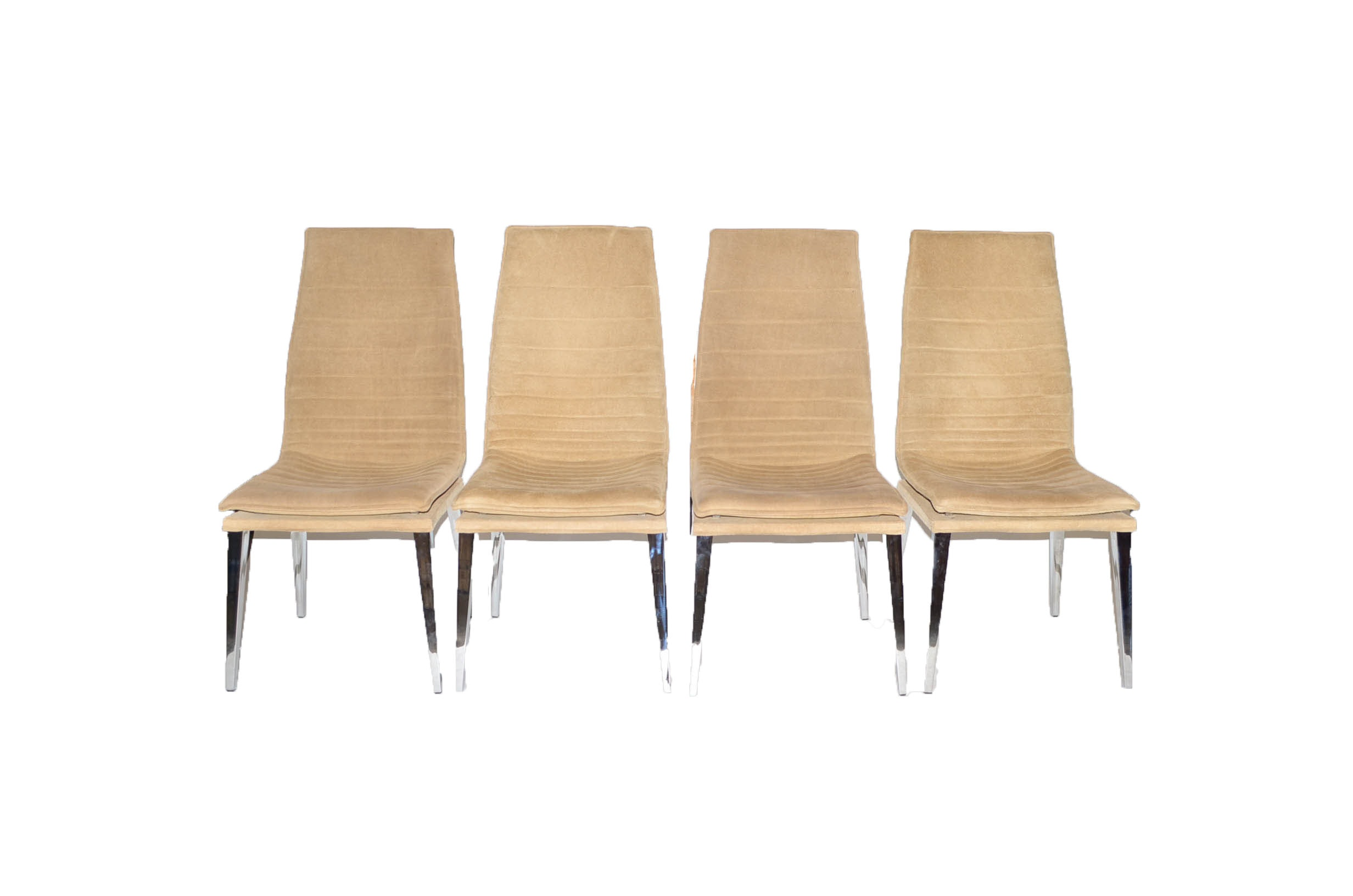 Four Modern Suede Dining Chairs by Smania
