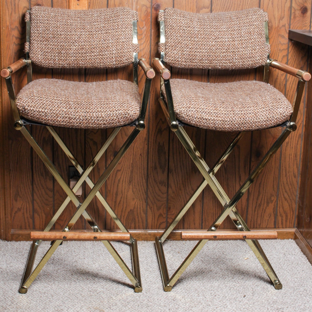 Mid Century Upholstered Director Style Bar Stools