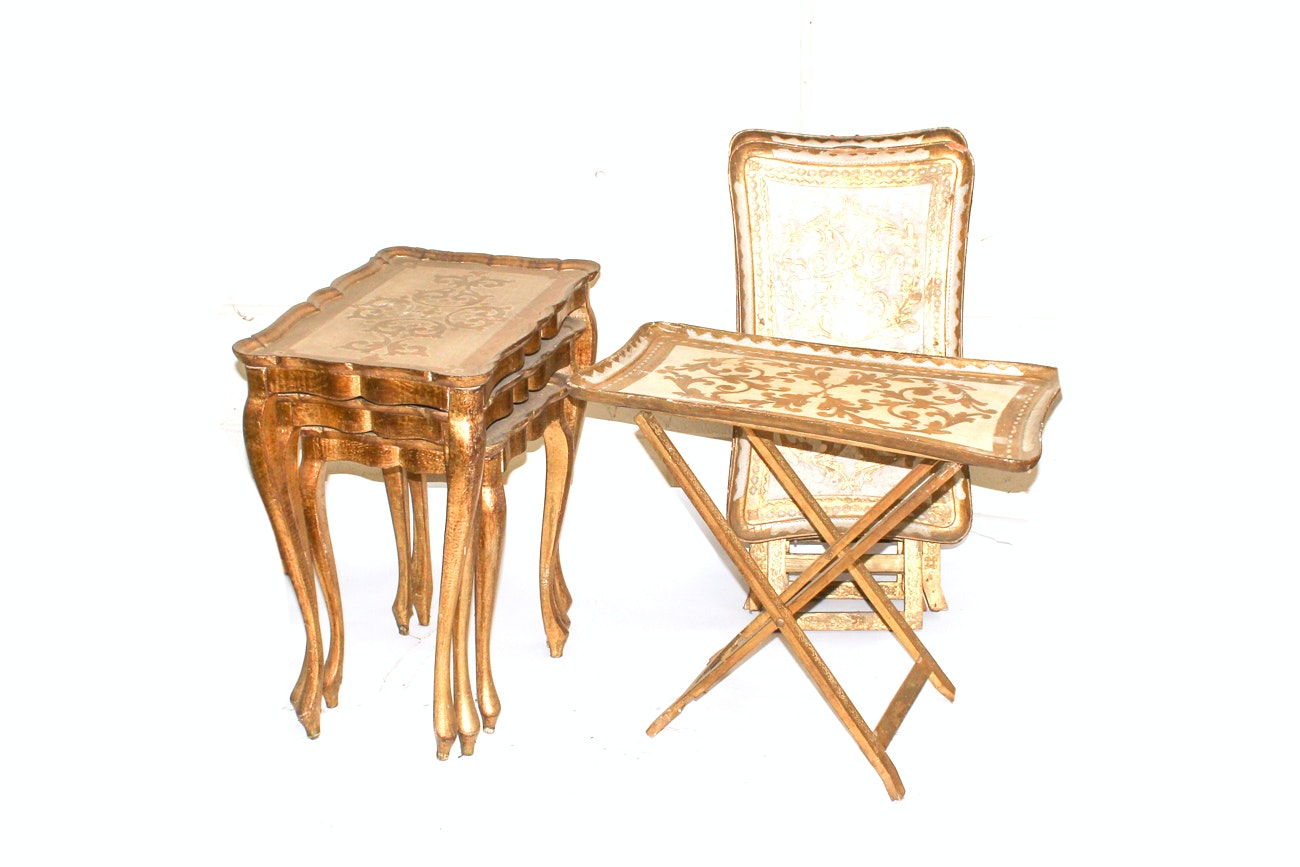 1920s Florentine Gold Toile Nesting Tables and Collapsible Tray Tables