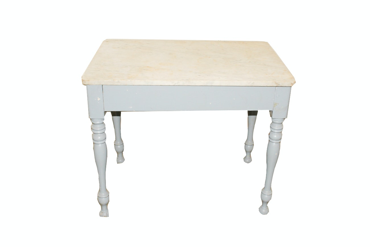 Vintage Marble Top Butcher Table