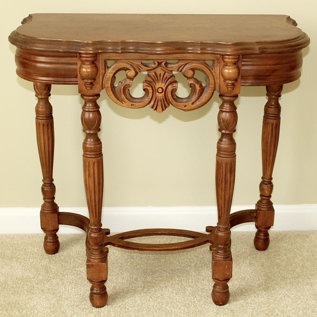 Small Vintage Carved Wood Accent Table