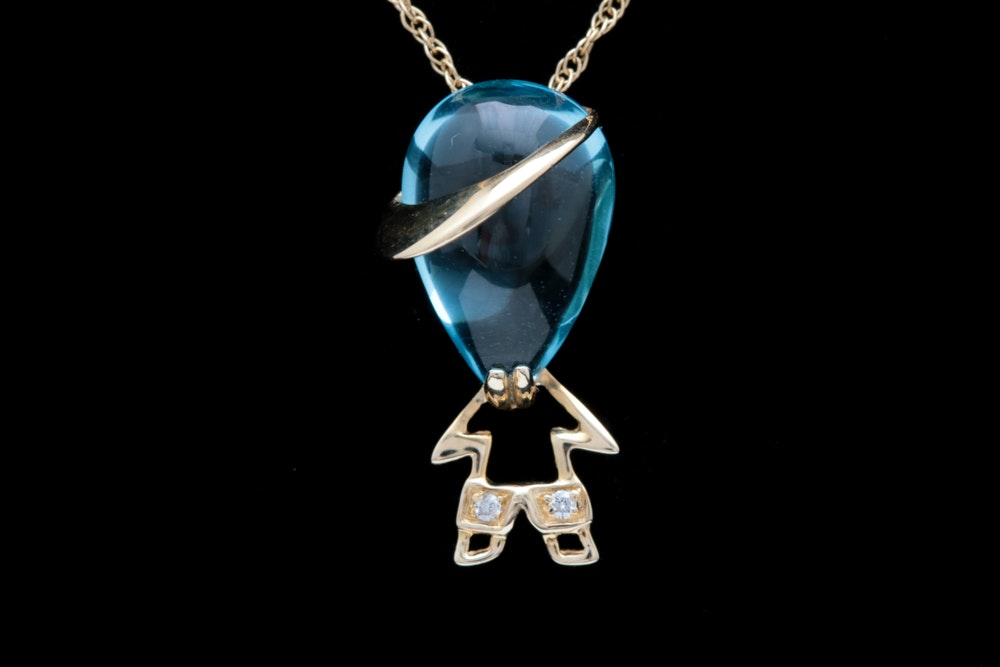 14K Yellow Gold, Blue Topaz and Diamond Boy Pendant with 10K Gold Chain
