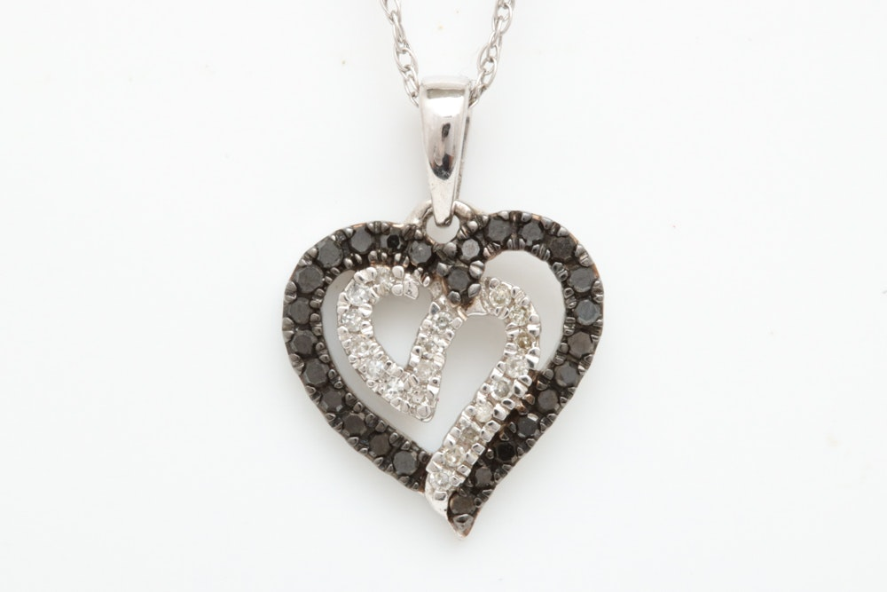 10K White Gold, Black and Natural Diamonds Heart Pendant with Chain