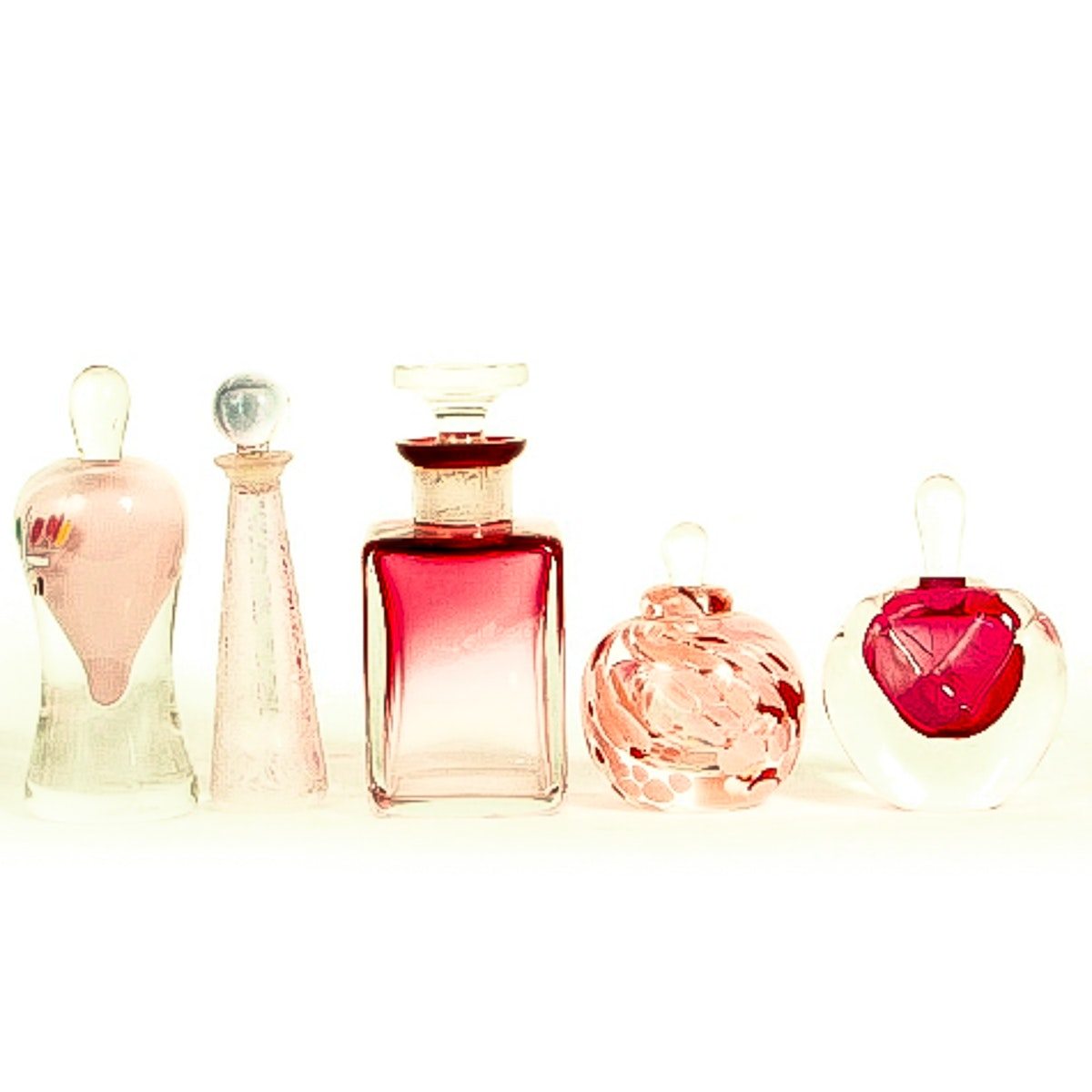 Collection of Art Glass Perfume Bottles