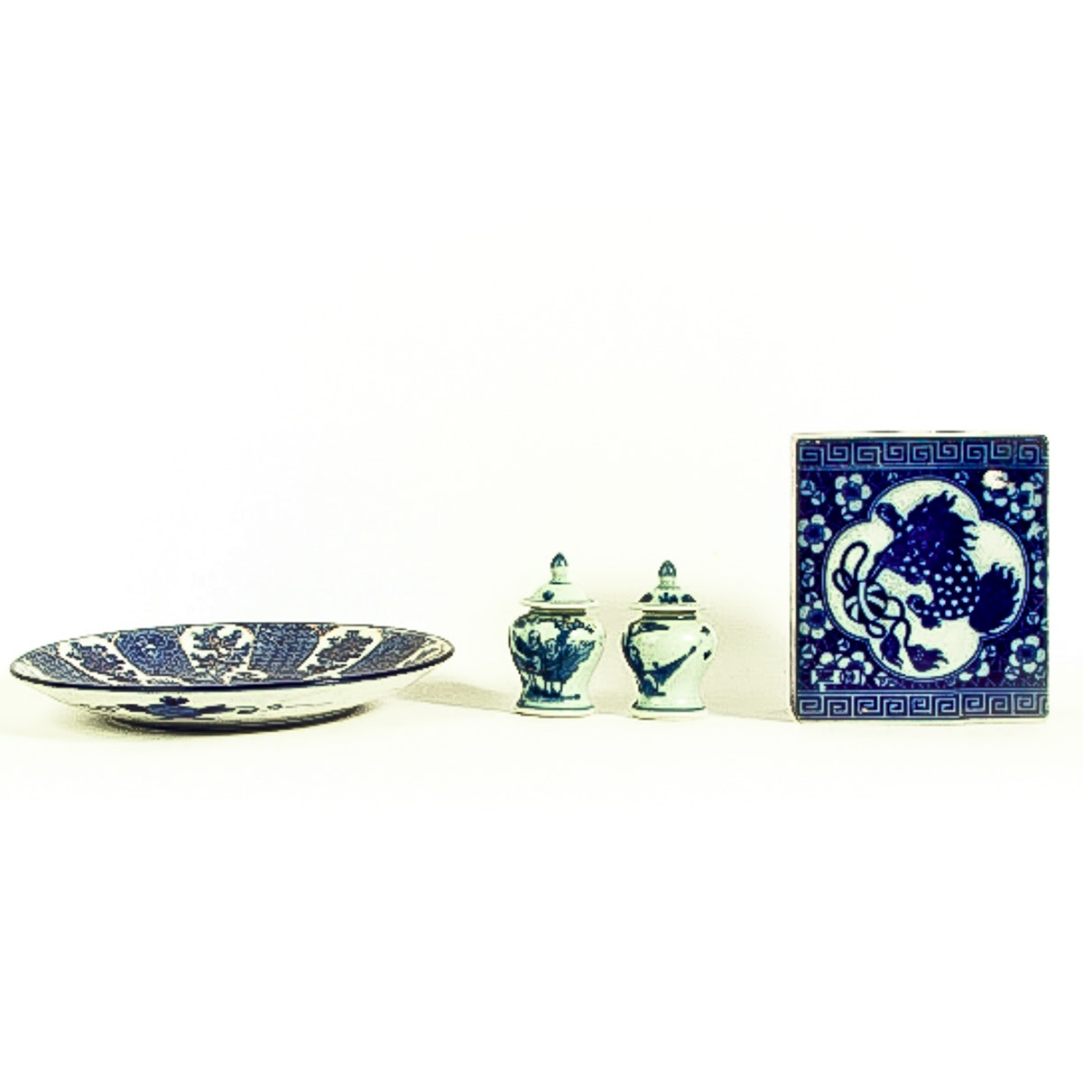 Collection of Vintage Asian Blue and White Ceramic Decorative Items