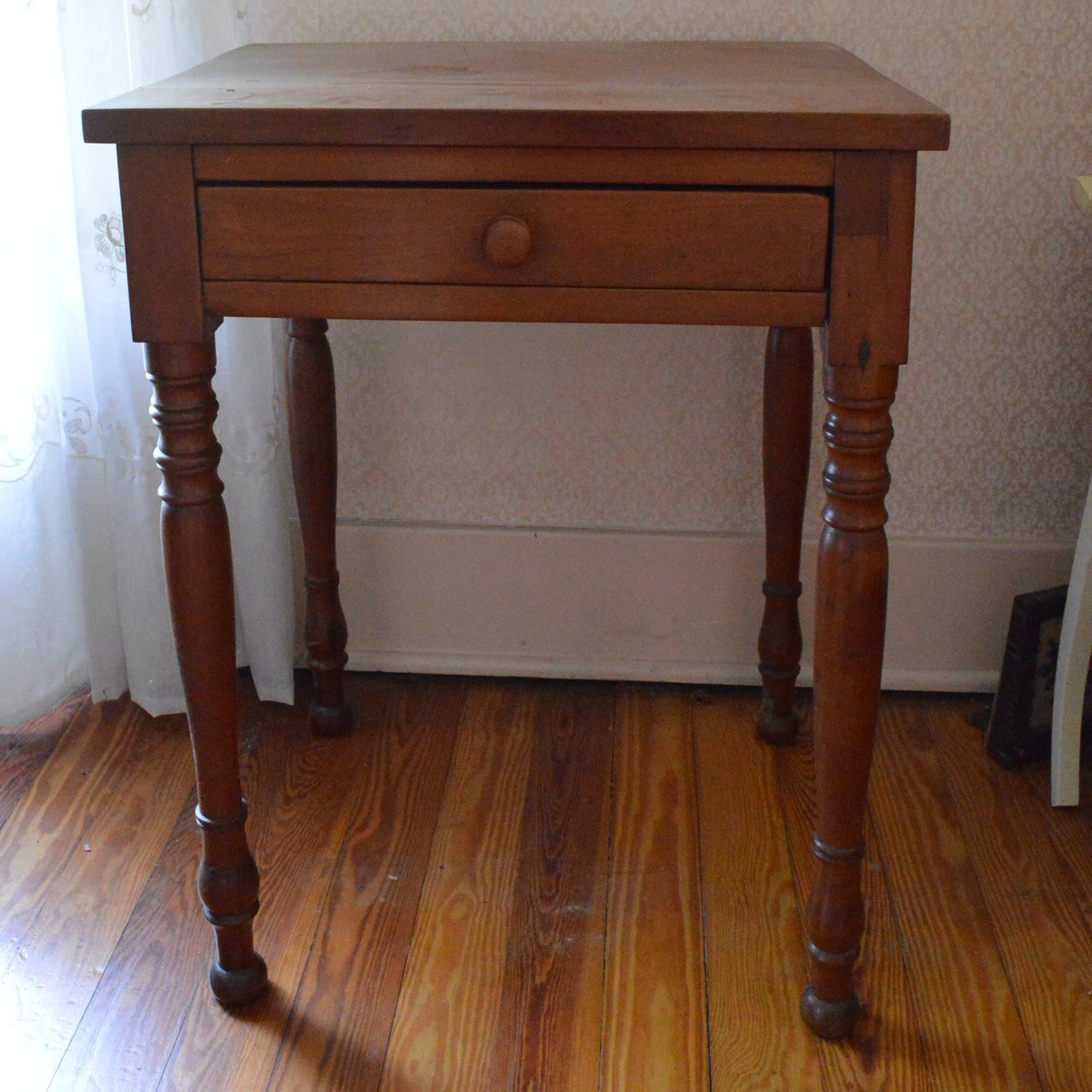 Antique Empire Style Cherry Side Table