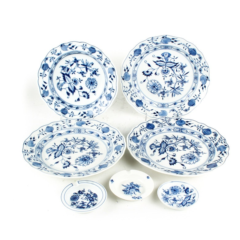 Meissen Plates, Ash Receivers, and Small Dish