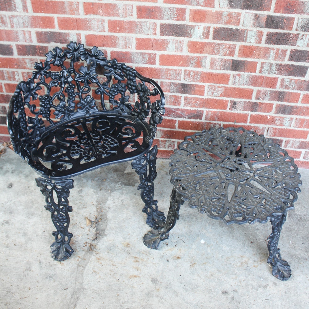 Cast Iron Table and Chair Pair