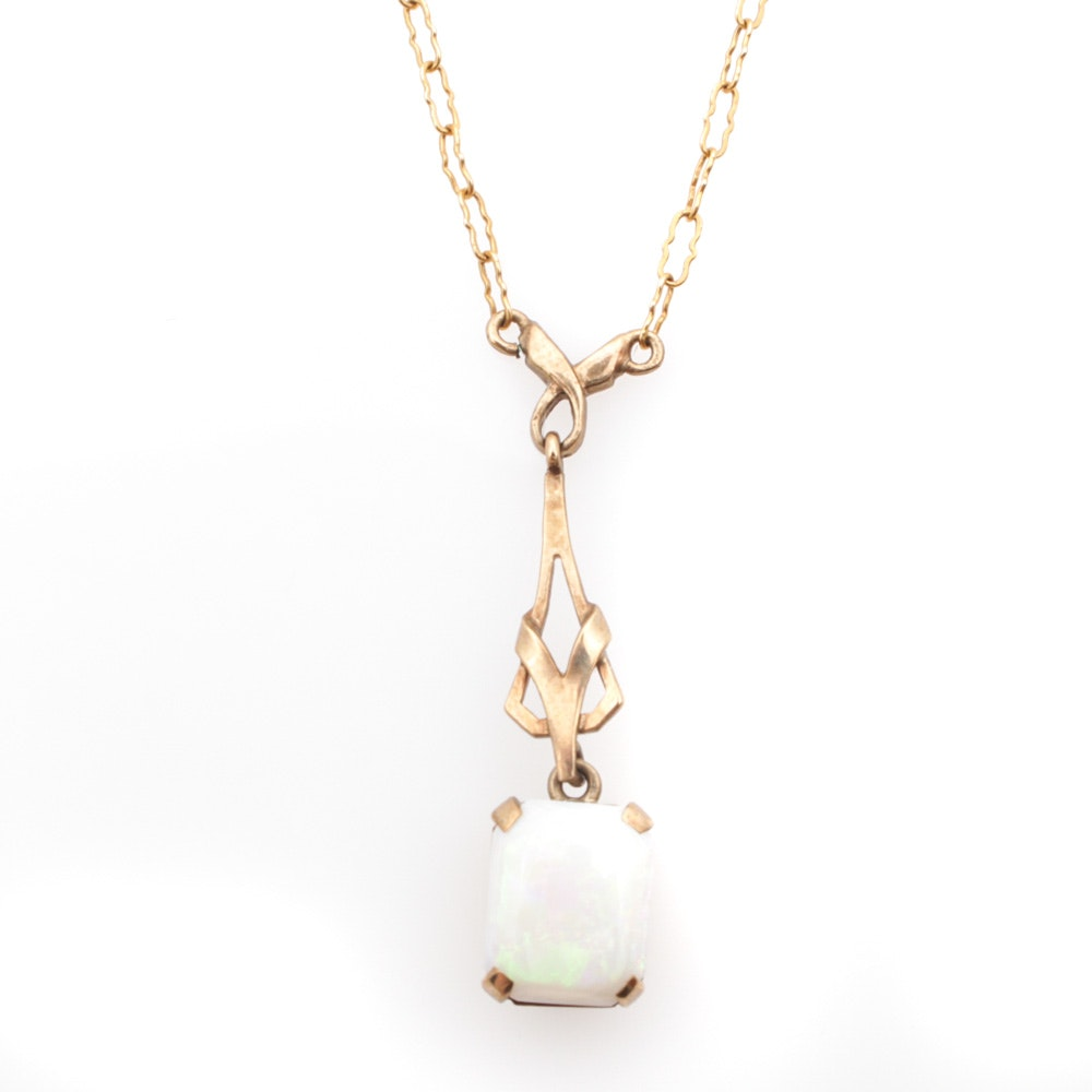 14K Yellow Gold Chain With 9K Yellow Gold and Opal Pendant