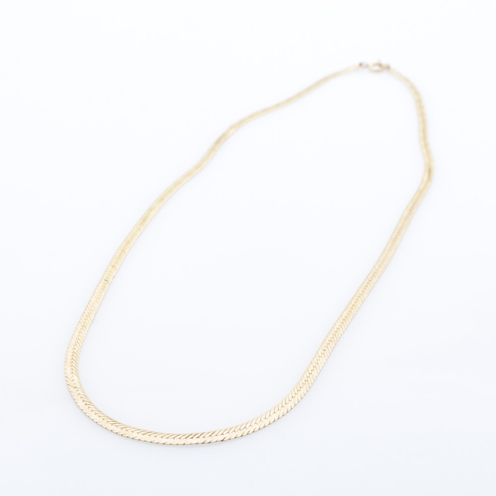14K Yellow Gold Etched Herringbone Necklace