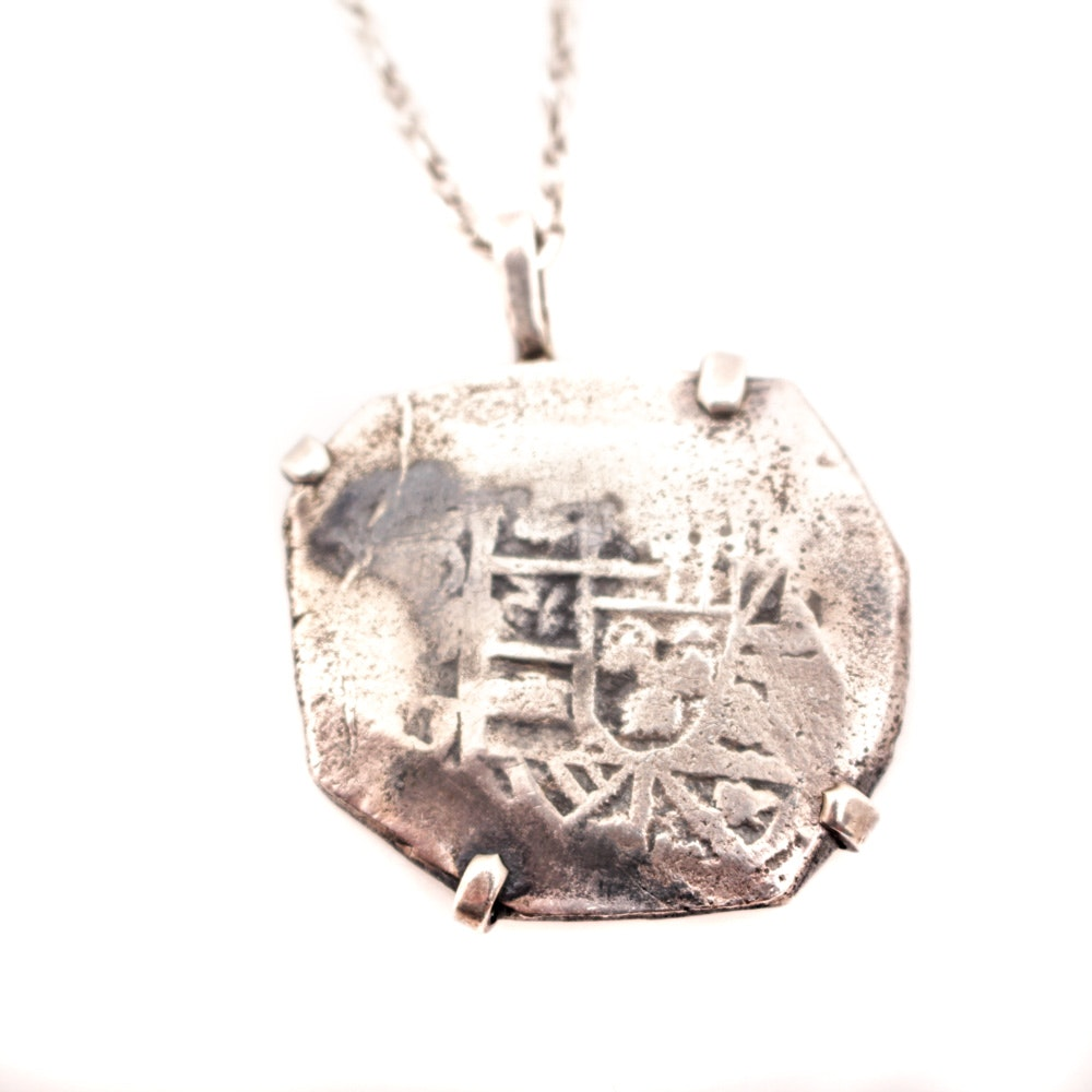 """Antique Spanish Colonial """"Shield Type"""" 8 Reales Cob on Sterling Sillver Chain"""
