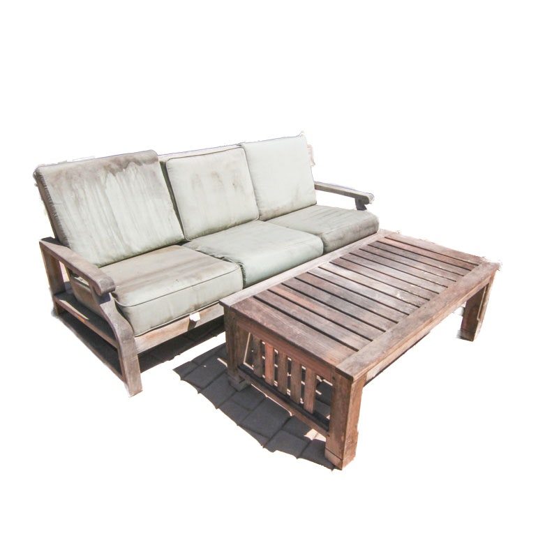 Teak Outdoor Sofa and Table Including Kingsley-Bate