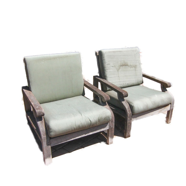 Pair of Kingsley Bate Teak Patio Armchairs