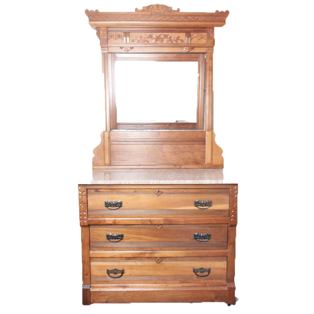 Antique Marble Topped Eastlake Style Dresser with Mirror