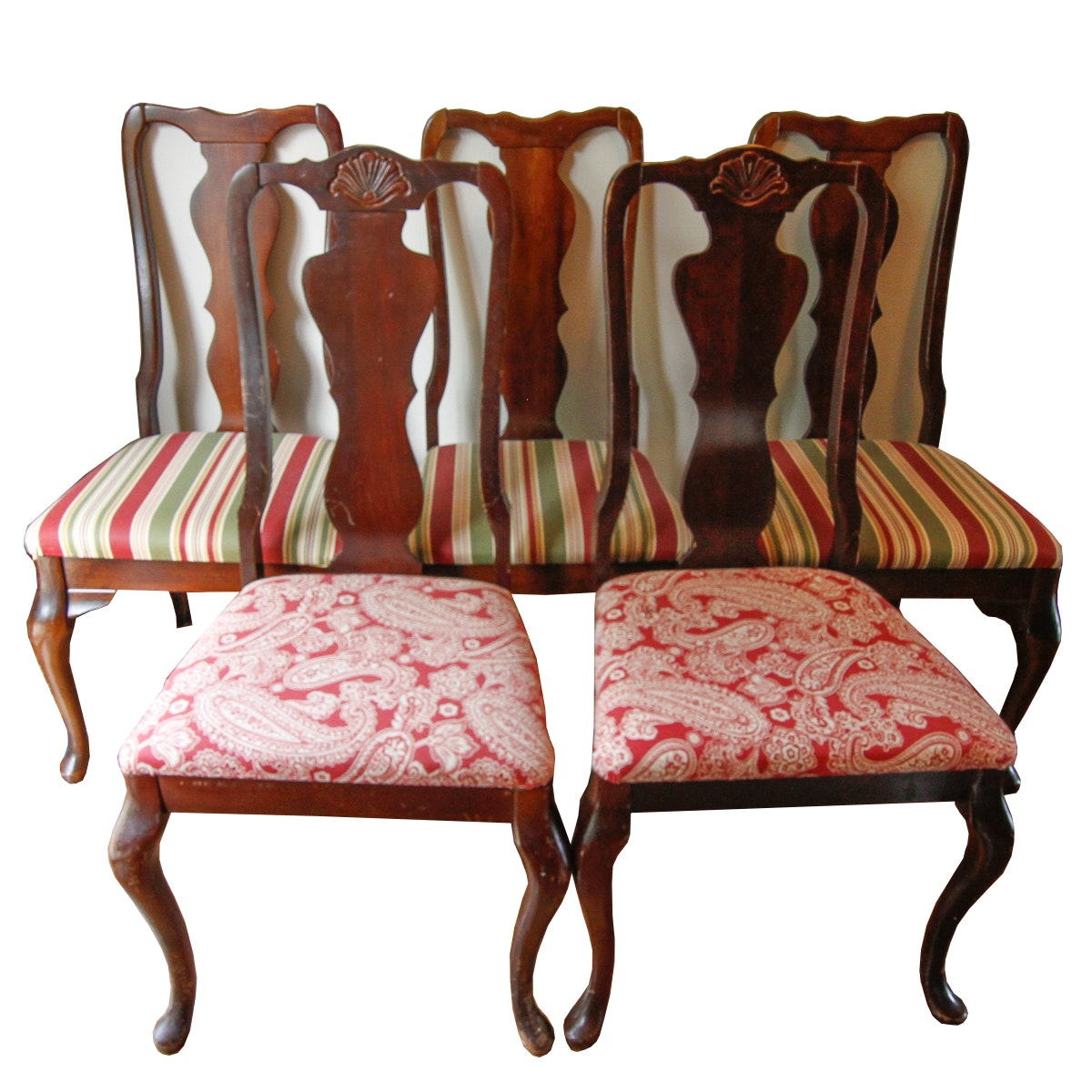 Queen Anne Style Fiddle Back Dining Chairs