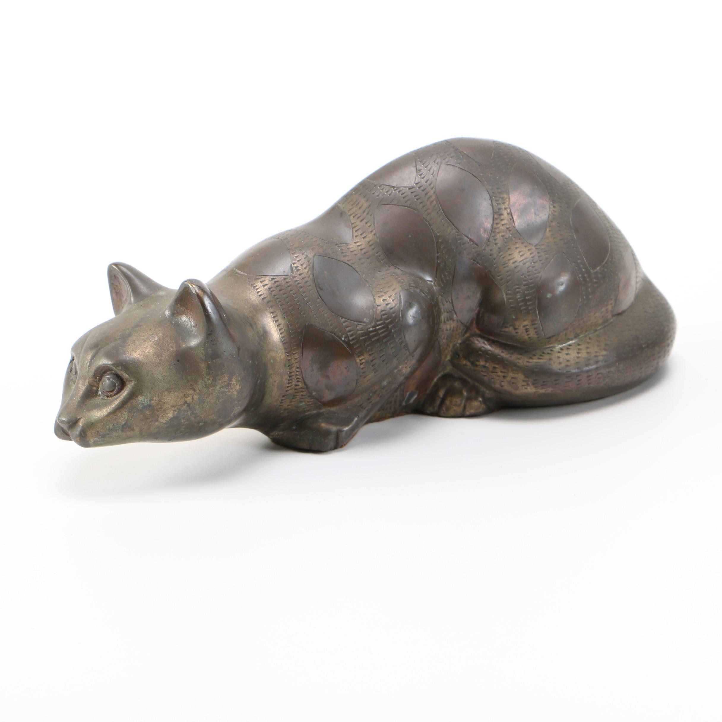 Brass Siamese Cat Figurine with Copper Inlay