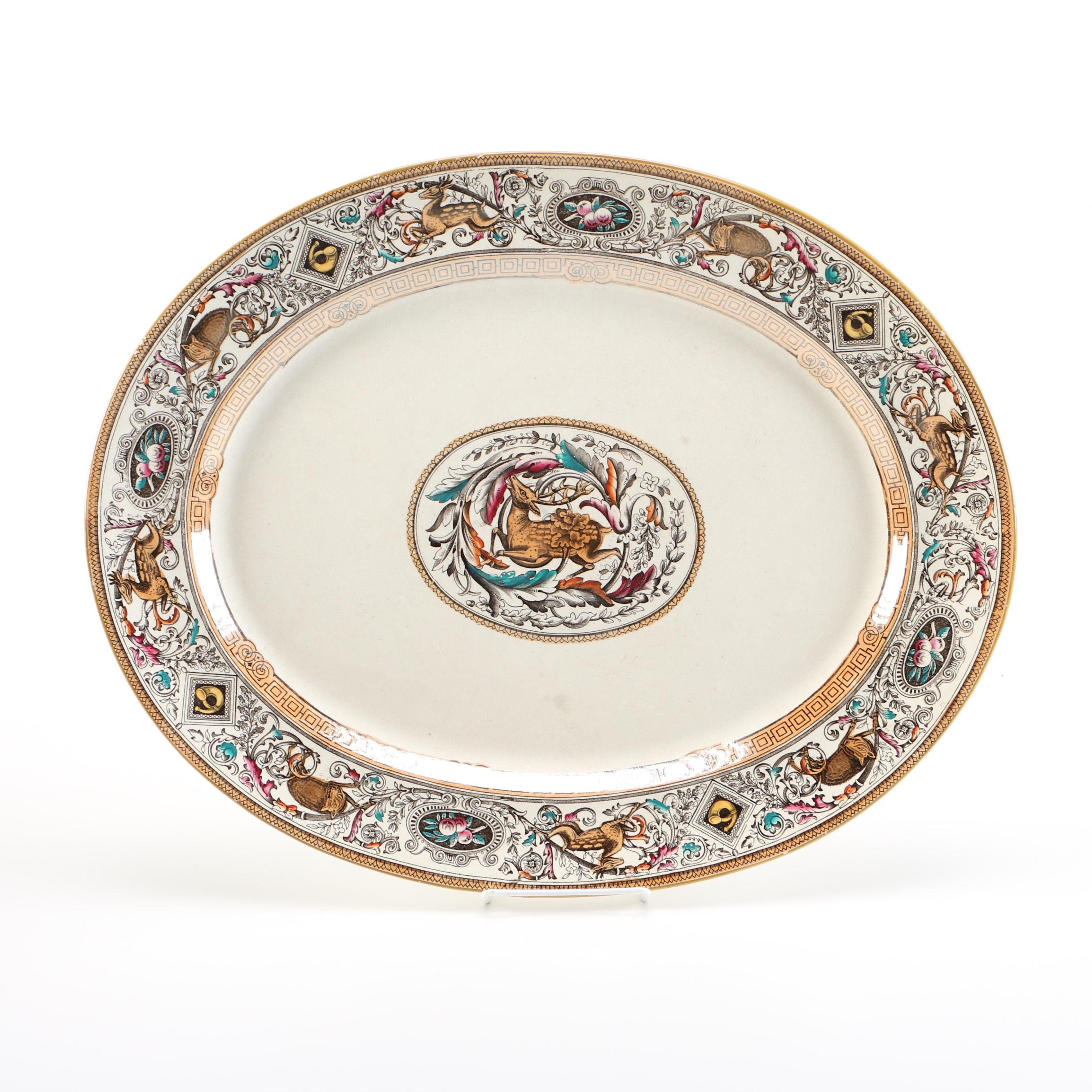 19th Century Borgia Ceramic Oval Serving Platter