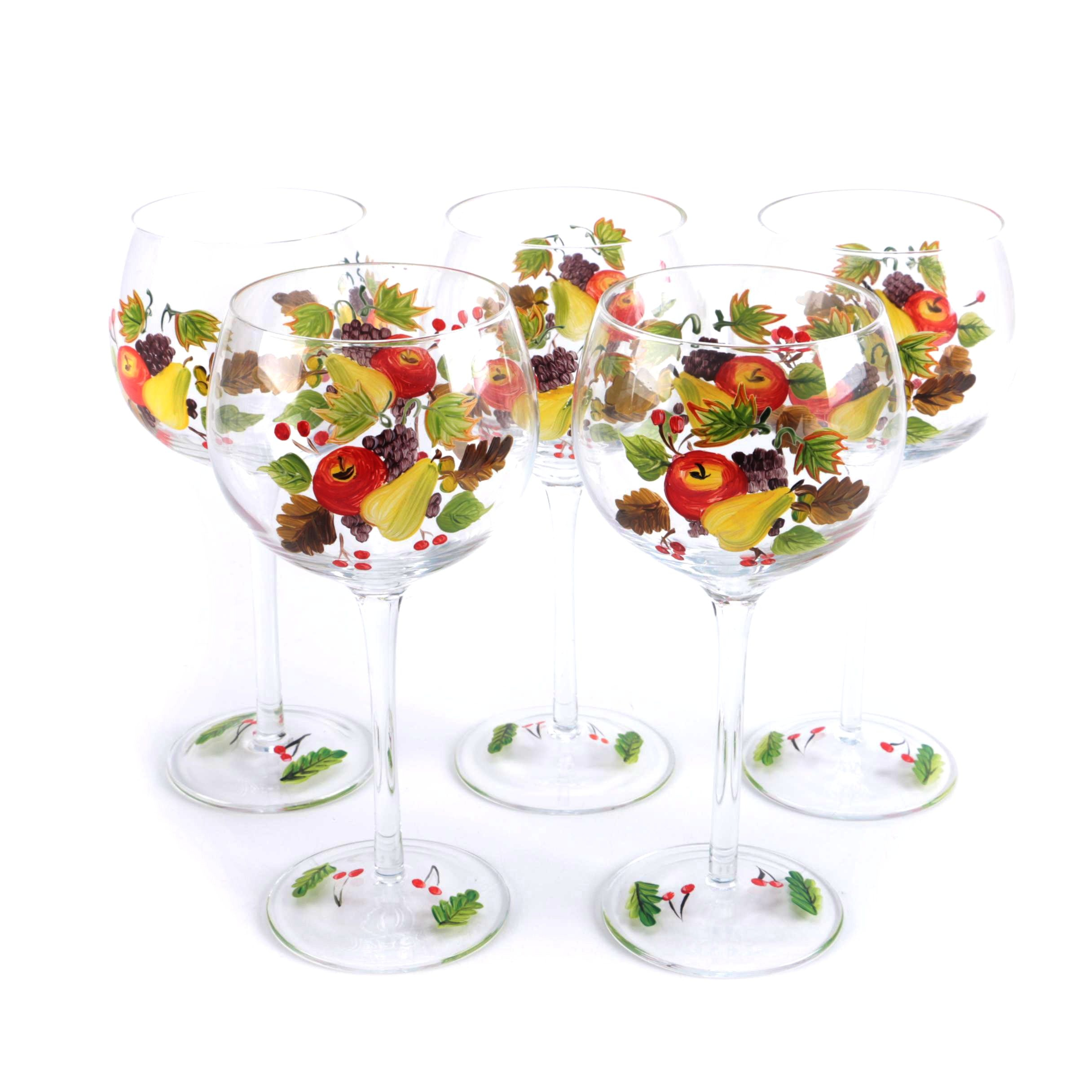 Red Wine Glasses With Painted Fruit Designs