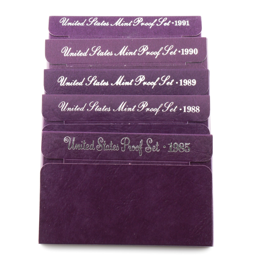 Group of Five U.S. Proof Sets Including the Following: 1985, 1988, 1989, 1990, and 1991