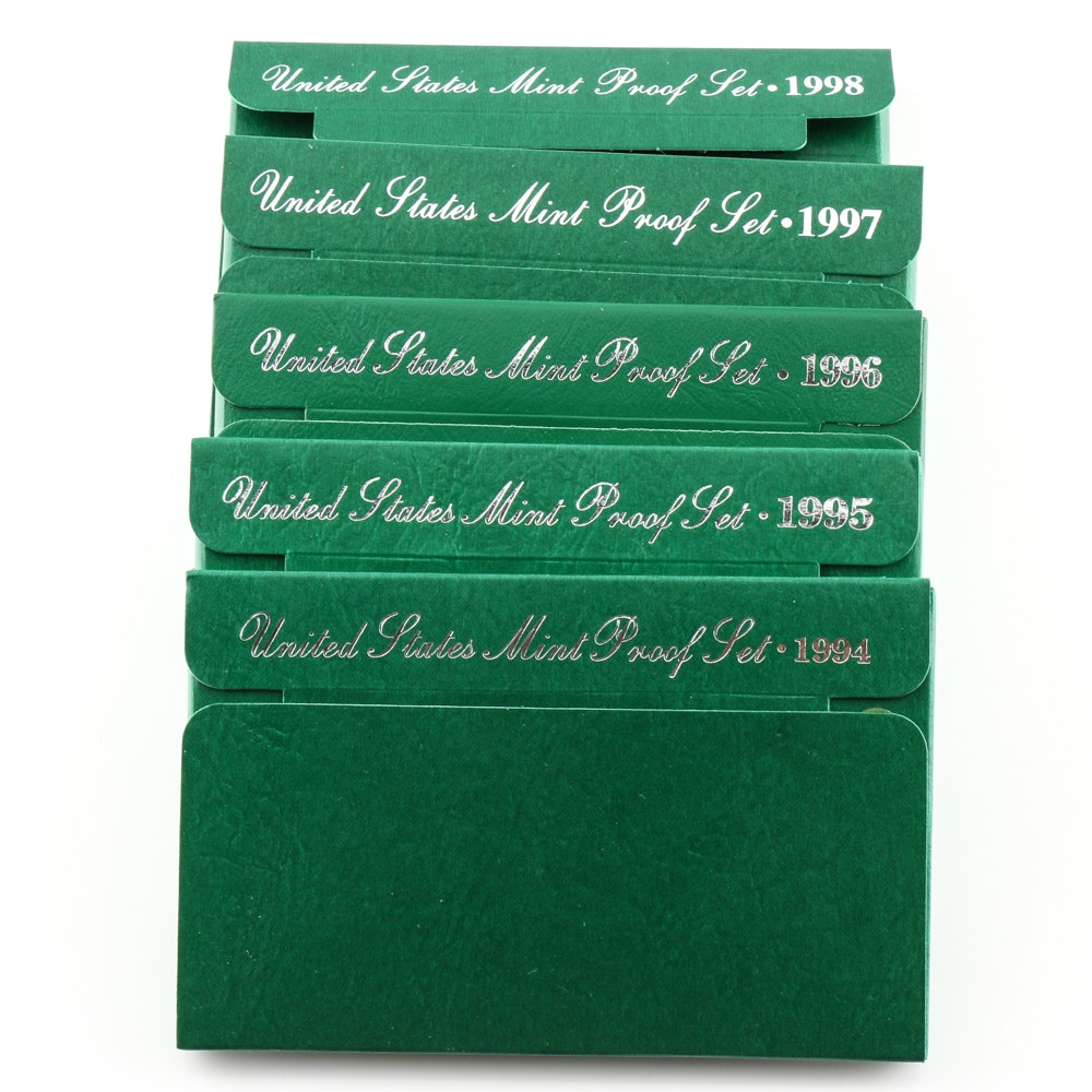 Group of Five U.S. Proof Sets Including the Following: 1994, 1995, 1996, 1997, and 1998