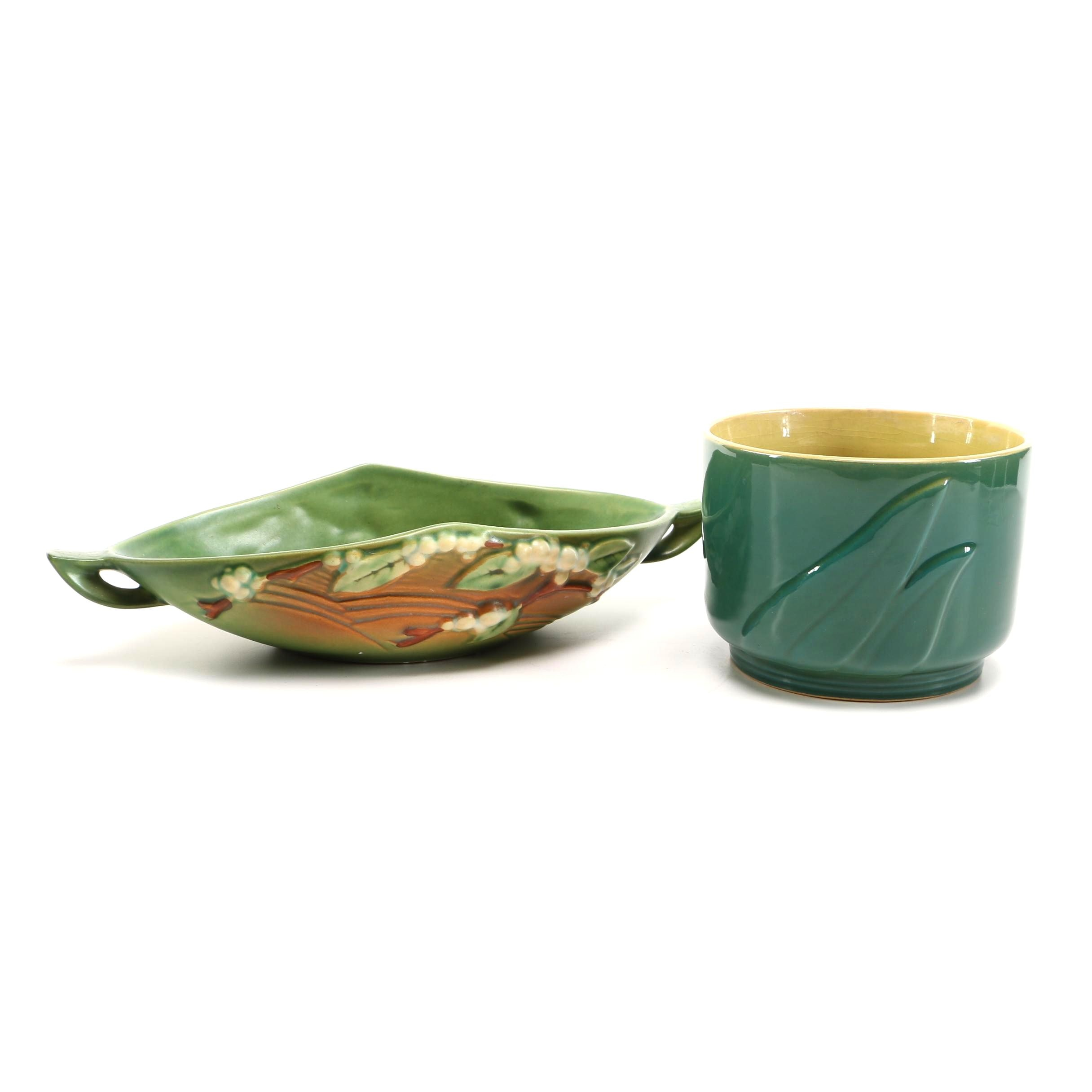 """Roseville Pottery """"Snowberry"""" Console Bowl and """"Mayfair"""" Planter"""