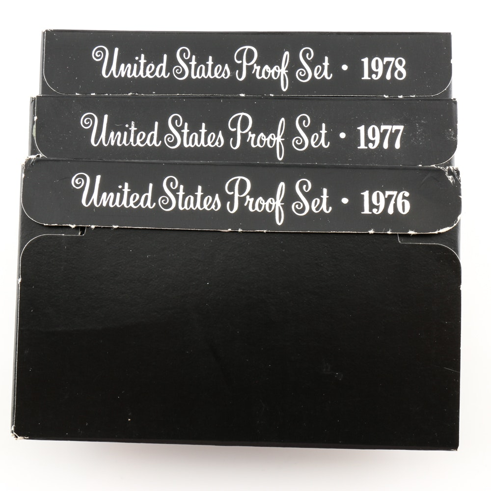 Group of Three U.S. Proof Sets Including the Following: 1976 Bicentennial, 1977, and 1978