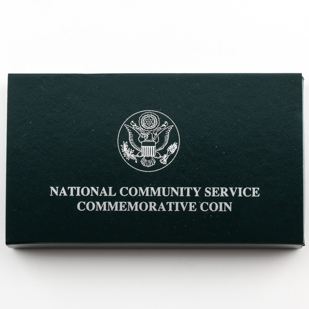 1996 S National Community Service Commemorative Silver One Dollar Proof Coin