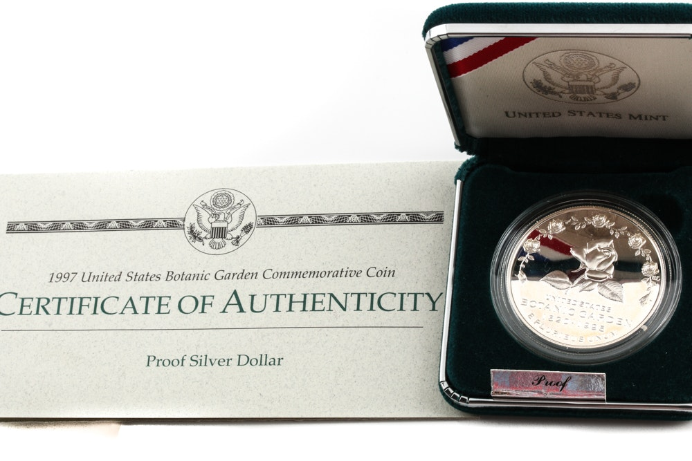 1997 P United States Botanic Garden Commemorative One Dollar Silver Proof Coin