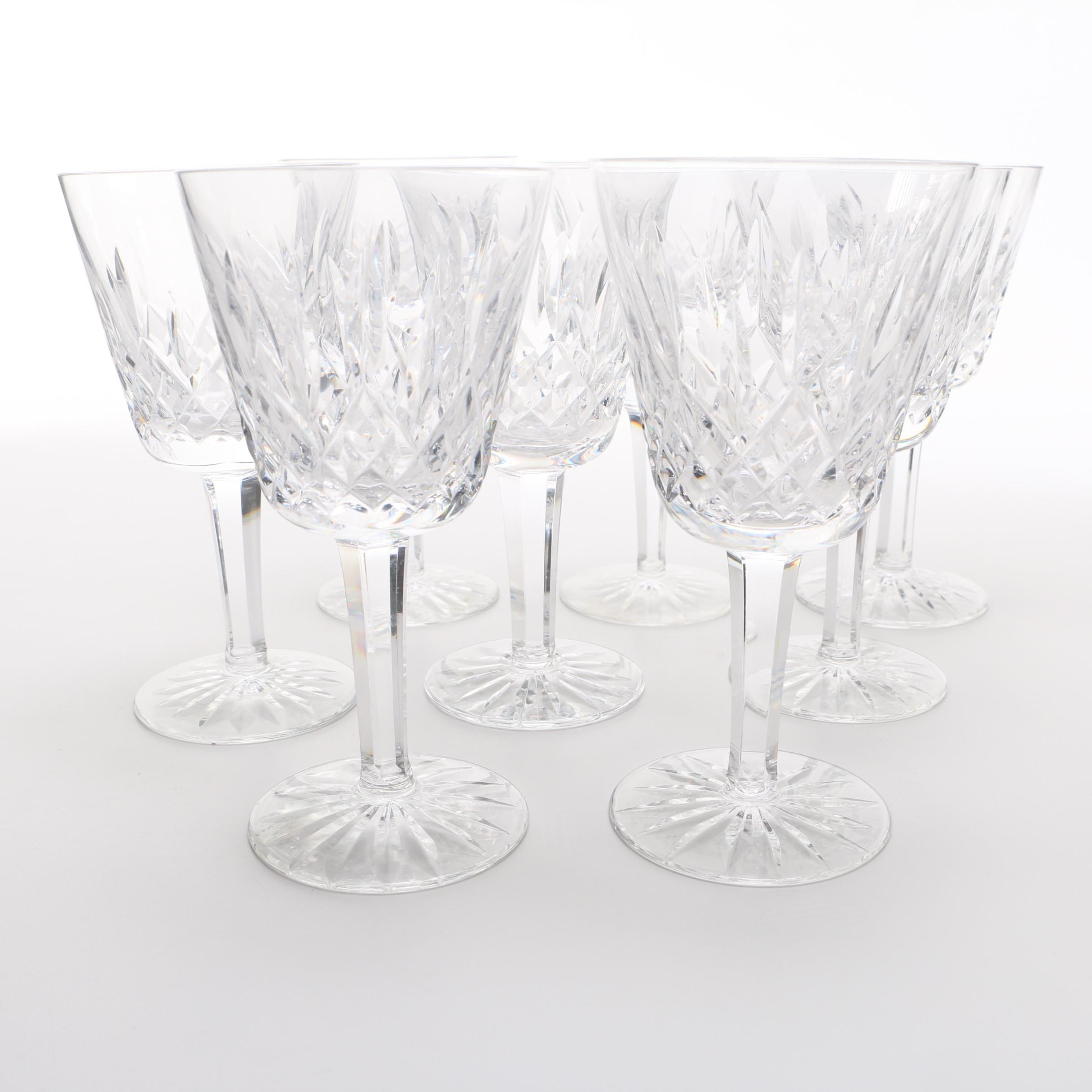 Set of Eight Waterford Crystal Stemmed Wine Glasses