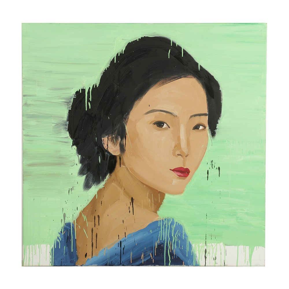 Zhong Chen Oil Portrait on Canvas of Young Woman