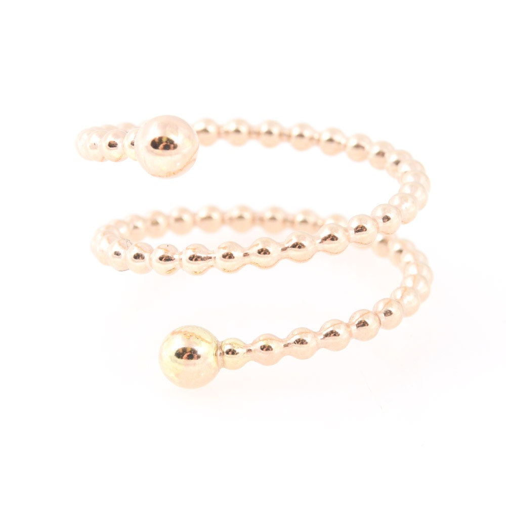 14K Yellow Gold Beaded Wrap Ring