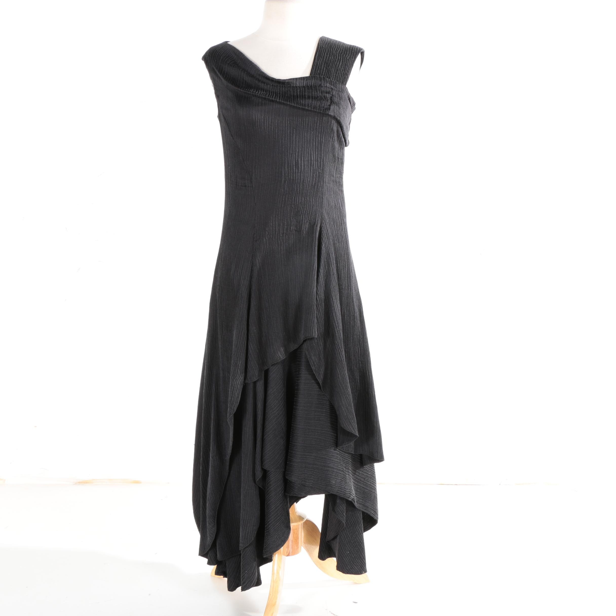 Anett Rostel Black Silk Cocktail Dress