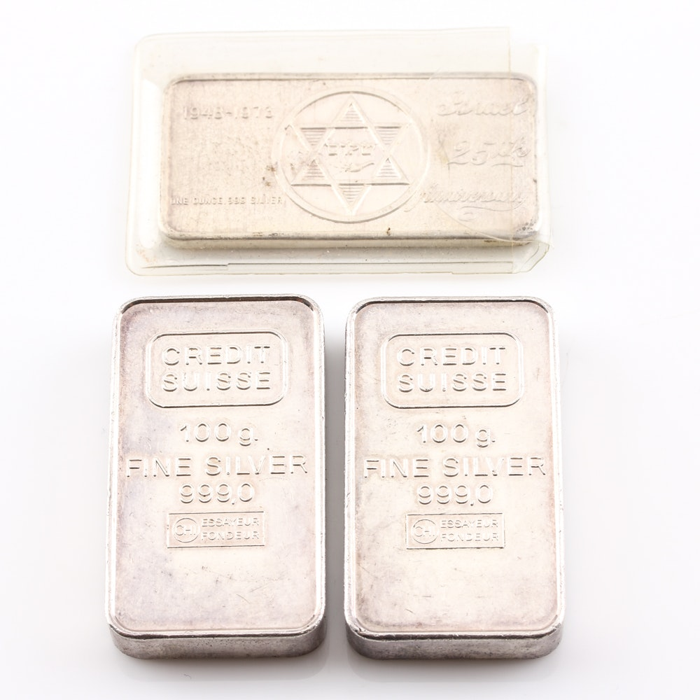 Group of Three Fine Silver Bars