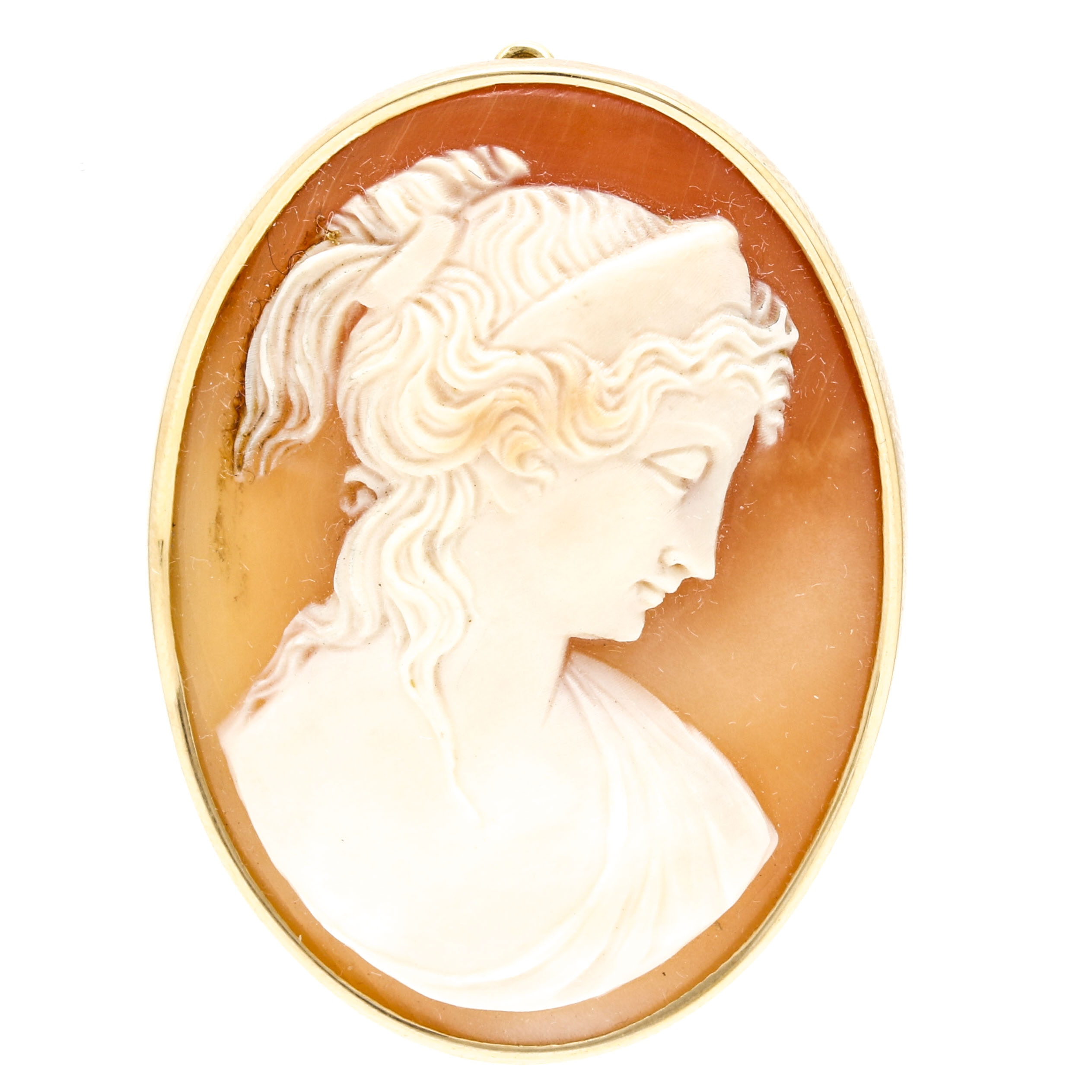 Donadio 18K Yellow Gold Cameo Brooch Pendant