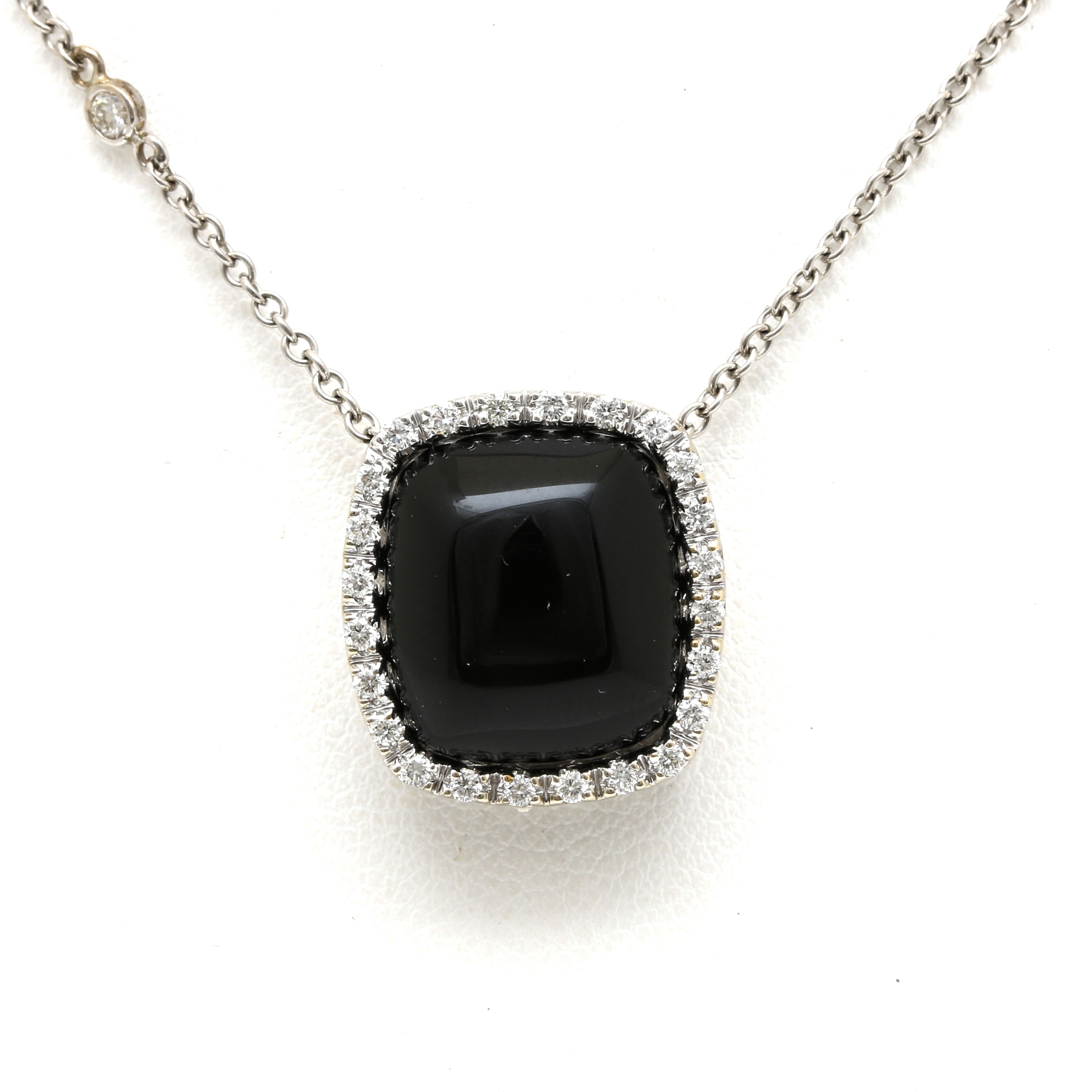 14K White Gold Black Onyx and Diamond Necklace