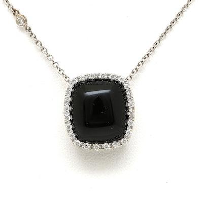 14K White Gold Black Onyx and Diamond Necklace
