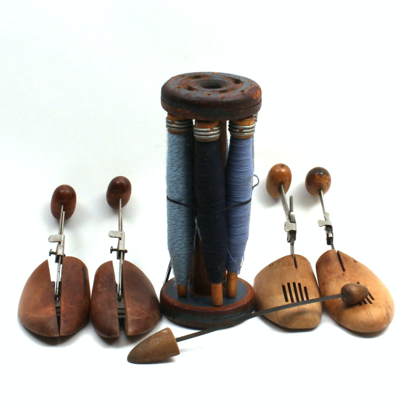 Vintage Spools With Thread and Shoe Stretchers