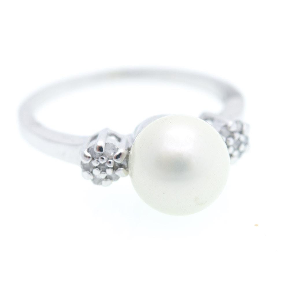 Sterling Silver Diamond Imitation Pearl Ring