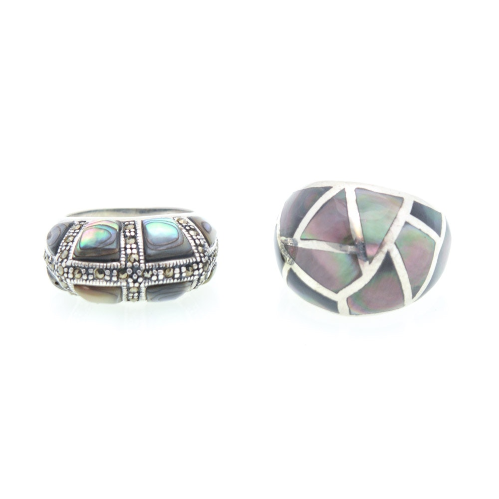 Sterling Silver Natural Abalone, Mother of Pearl and Marcasite Rings