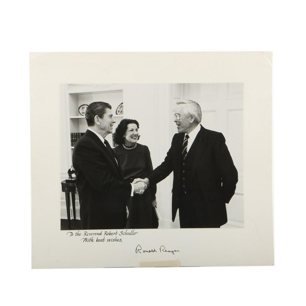 Signed Print of Ronald Reagan and Rev. Robert Schuller