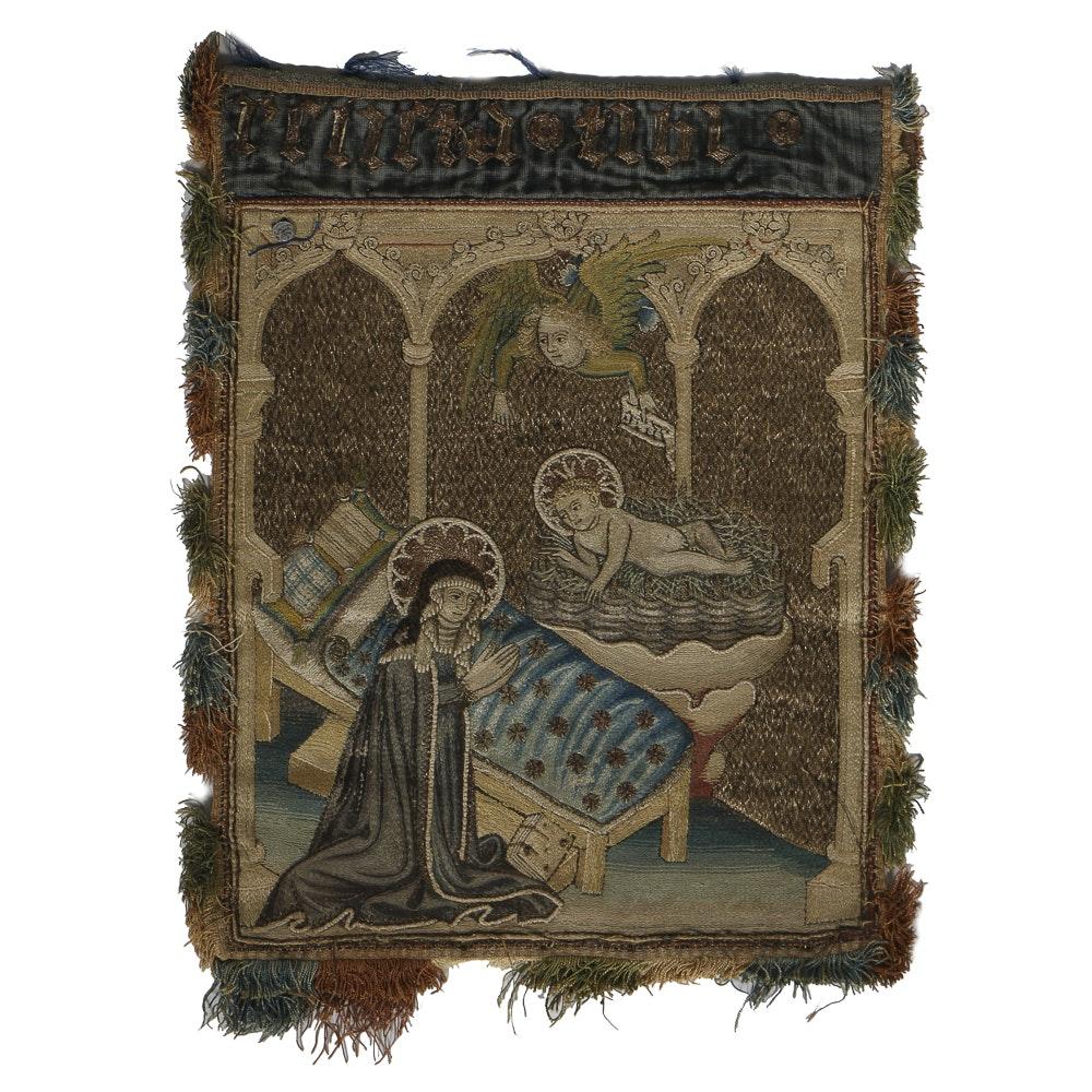 19th-Century Italian Brocade Embroidery Madonna and Child
