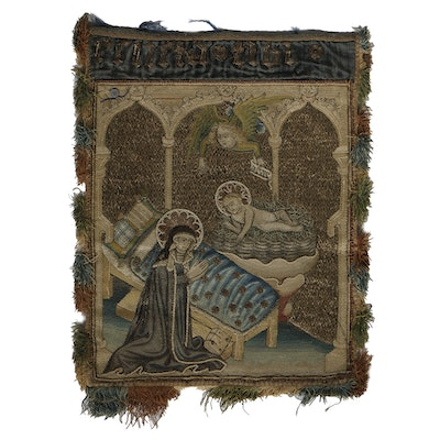 19th-Century Italian Brocade Embroidery Madonna and Child