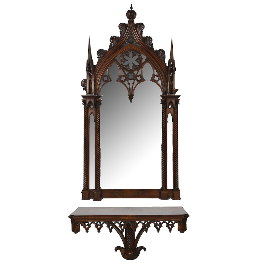 Gothic Revival Style Mahogany Wall Mirror And Console Ebth