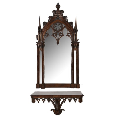 Gothic Revival Style Mahogany Wall Mirror and Console