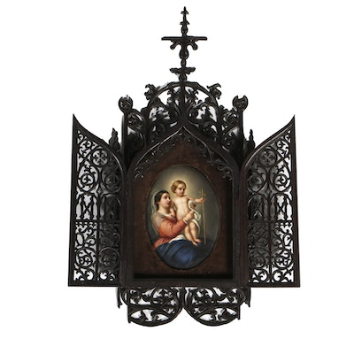 Late 19th Century Porcelain of Madonna and Child in Gothic Frame