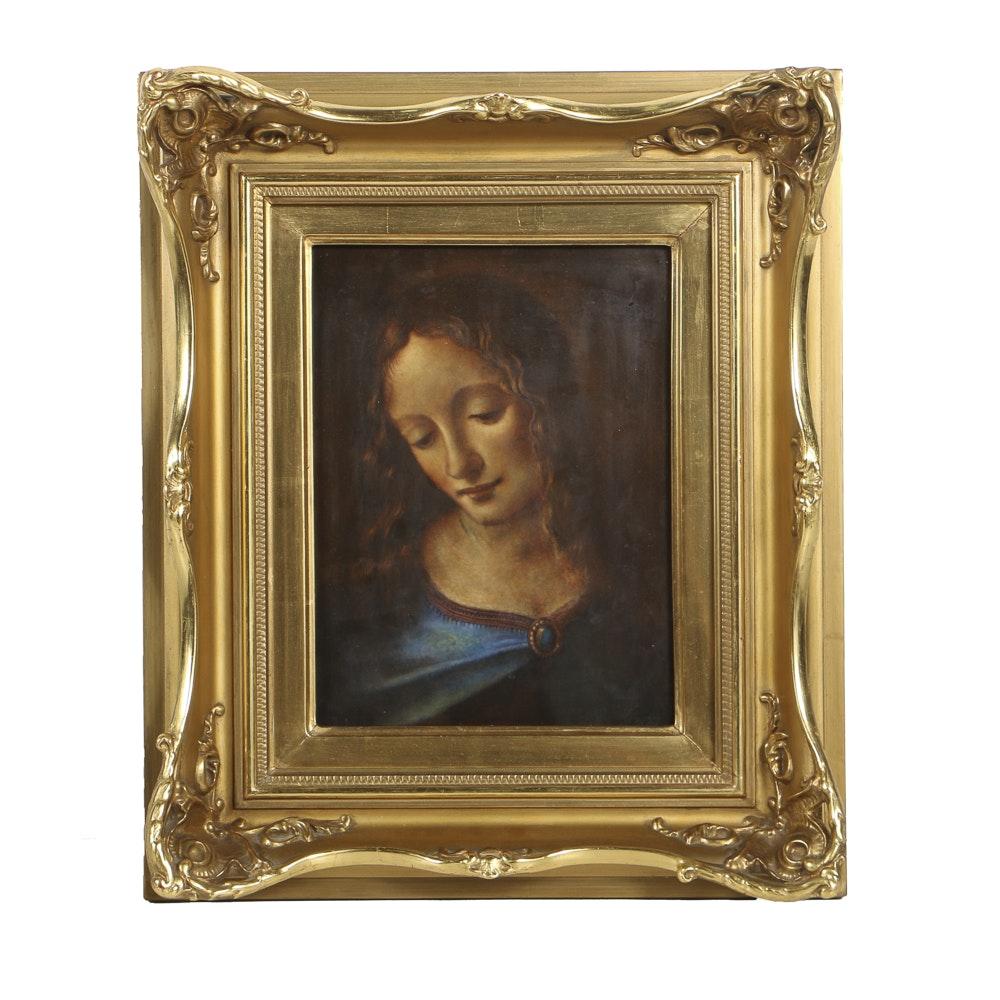"""Rosenthal Hand Painted Porcelain Plaque after Leonardo Da Vinci's """"Madonna of the Rocks"""""""