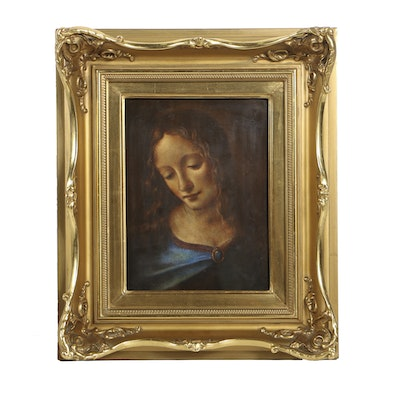 "Rosenthal Hand Painted Porcelain Plaque after Leonardo Da Vinci's ""Madonna of the Rocks"""