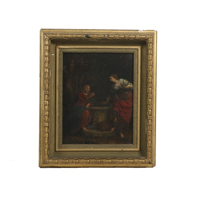 18th-Century Oil Painting on Stone after Paolo Caliari